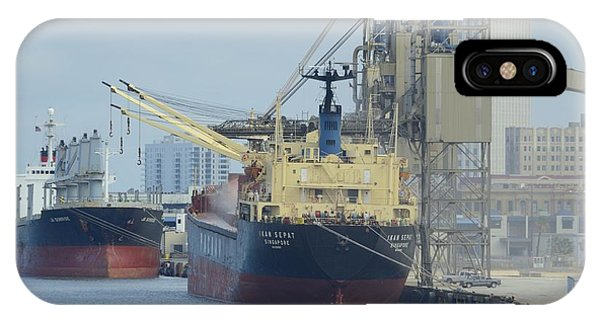IPhone Case featuring the photograph Cargo Ships At Galveston by Bradford Martin