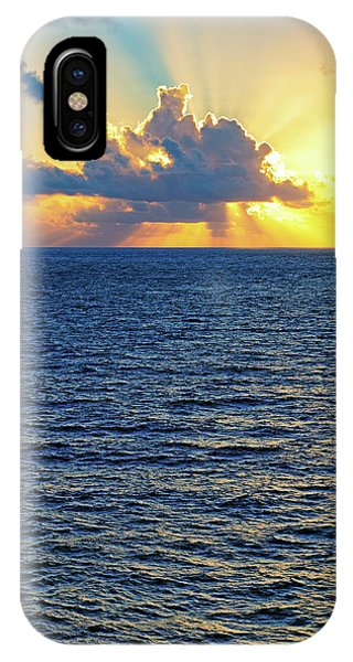 IPhone Case featuring the photograph Caribbean Sunrise At Sea - Ocean - Sun Rays by Jason Politte