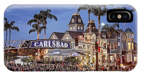 iPhone Case - Carlsbad Village Sign Lighting by Ann Patterson