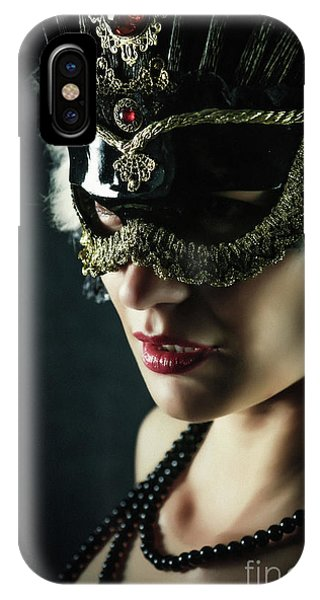 IPhone Case featuring the photograph Carnival Mask Closeup Girl Portrait by Dimitar Hristov