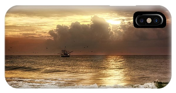 Carolina Beach Shrimp Boat At Sunrise IPhone Case