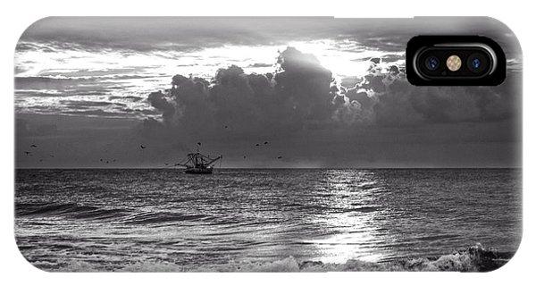 Carolina Beach Shrimp Boat At Sunrise In Black And White IPhone Case