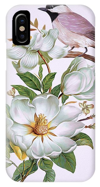 Carolina Chickadee And Magnolia Flower IPhone Case
