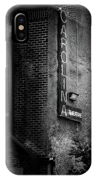 Carolina Theatre Neon In Black And White IPhone Case