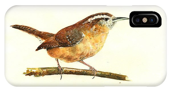 Bird Watercolor iPhone Case - Carolina Wren Watercolor Painting by Juan  Bosco