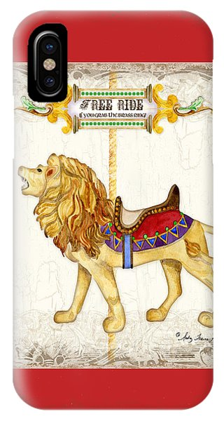 Carousel iPhone Case - Carousel Dreams - Roaring Lion by Audrey Jeanne Roberts