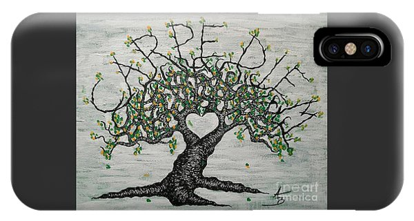 IPhone Case featuring the drawing Carpe Diem Love Tree by Aaron Bombalicki
