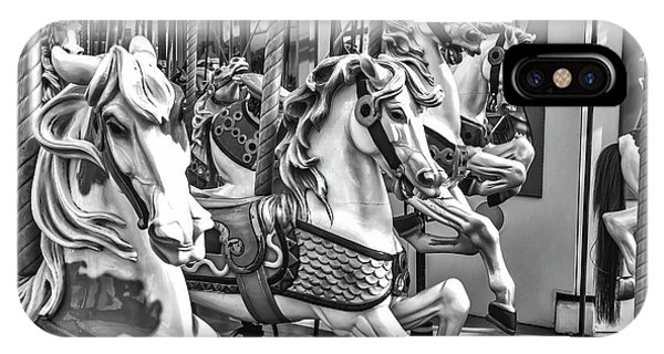 Carousel iPhone Case - Carrousel Horses In Black And White by Garry Gay