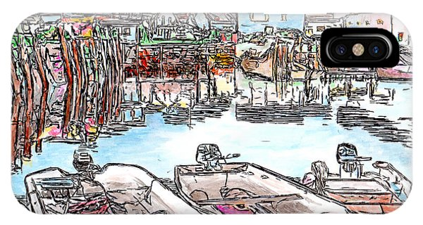 Carvers Harbour With Boats , Vinal Haven,  Maine IPhone Case