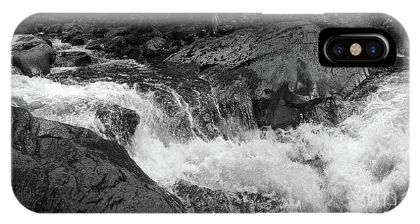 Cascade Stream Gorge, Rangeley, Maine  -70756-70771-pano-bw IPhone Case