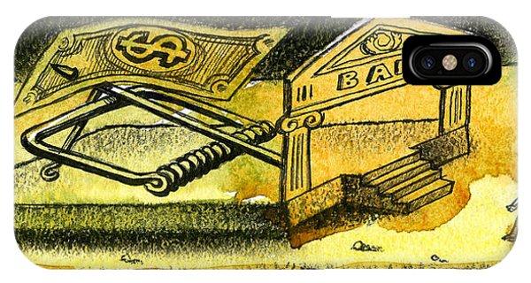 Debts iPhone Case - Cash Catch by Leon Zernitsky