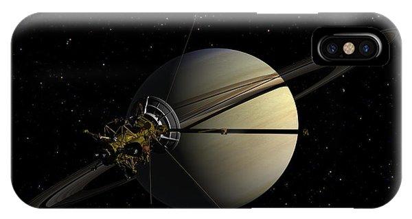 Cassini Orbiting Saturn IPhone Case