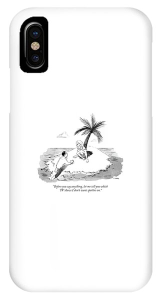 Shipwreck iPhone Case - Castaway Climbs Onto Shore Of Deserted Island. by Emily Flake