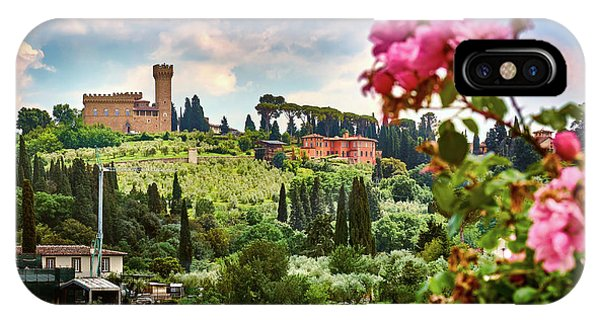 Roses And Castle On Green Tuscan Landscape In Florence, Italy IPhone Case