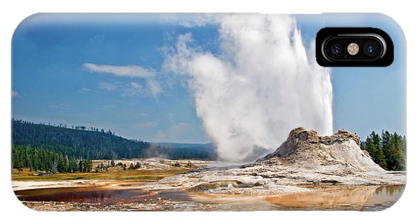 Yellowstone National Park iPhone Case - Castle Geyser by Delphimages Photo Creations