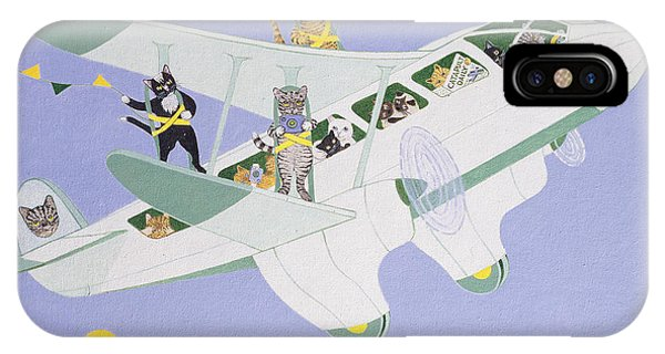 In Flight iPhone Case - Cat Air Show by Pat Scott
