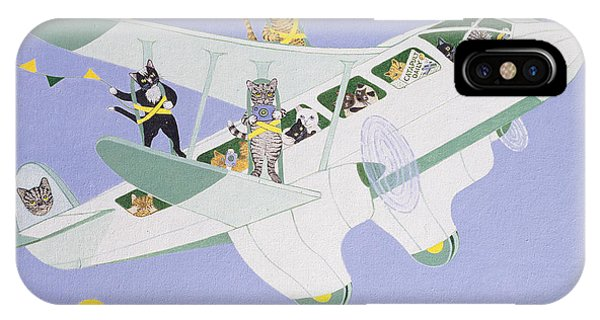 Bunting iPhone Case - Cat Air Show by Pat Scott