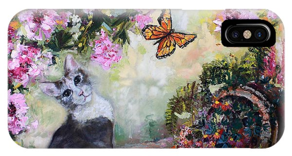 Cat And Butterflies In Cottage Garden IPhone Case