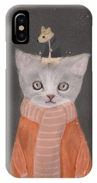 Cute Kitten iPhone Case - Cat And Mouse by Bri Buckley