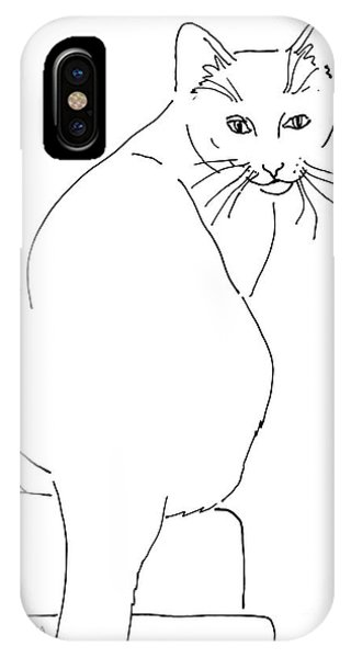 IPhone Case featuring the drawing Cat-artwork-prints by Gordon Punt