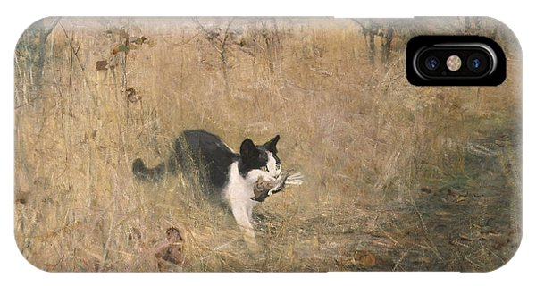 Swedish Painters iPhone Case - Cat Bird Hunting  by Bruno Liljefors