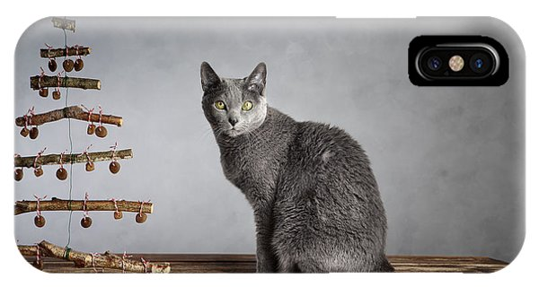 Russia iPhone Case - Cat Christmas by Nailia Schwarz