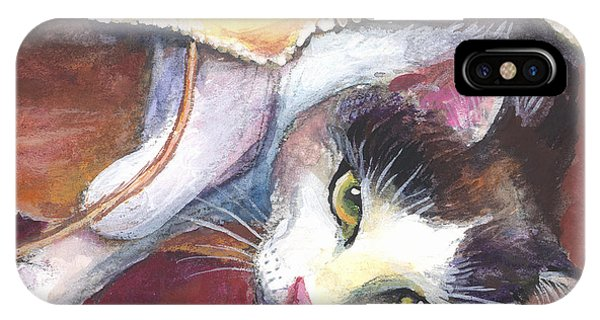 Watercolor Pet Portraits iPhone Case - Cat In A Bag Painting by Svetlana Novikova