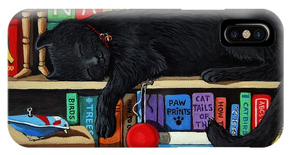 Cat Nap - Orginal Black Cat Painting IPhone Case