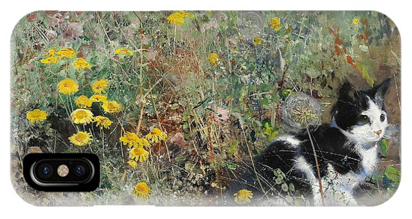 Swedish Painters iPhone Case - Cat On Flowerbed by Bruno Liljefors