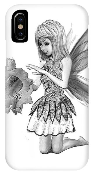 Catalpa Tree Fairy With Flower B And W IPhone Case