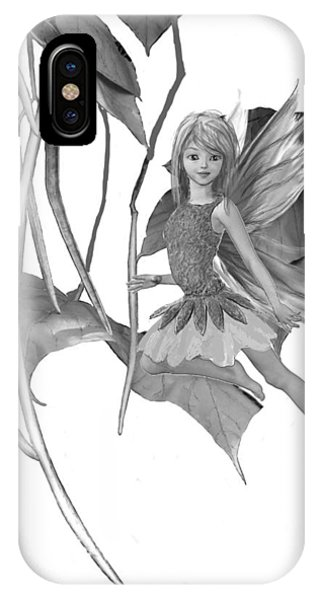 Catalpa Tree Fairy With Seed Pods B And W IPhone Case