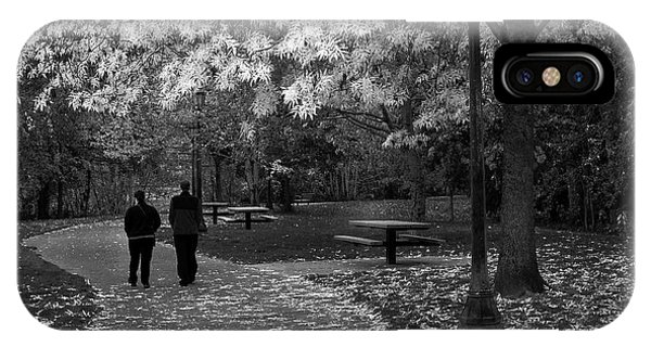 Cathedral Park In Fall Bw IPhone Case