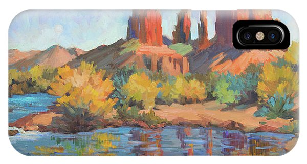 Cathedral Rock iPhone Case - Moonrise Cathedral Rock Sedona by Diane McClary