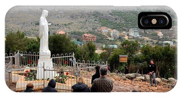 Catholic Pilgrim Worshipers Pray To Virgin Mary Medjugorje Bosnia Herzegovina IPhone Case