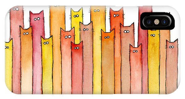 Illustration iPhone Case - Cats Autumn Colors by Olga Shvartsur