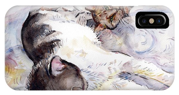 iPhone Case - Cats In Watercolor by Maria Reichert