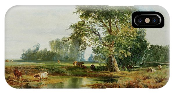 Rural America iPhone Case - Cattle Watering by Thomas Moran