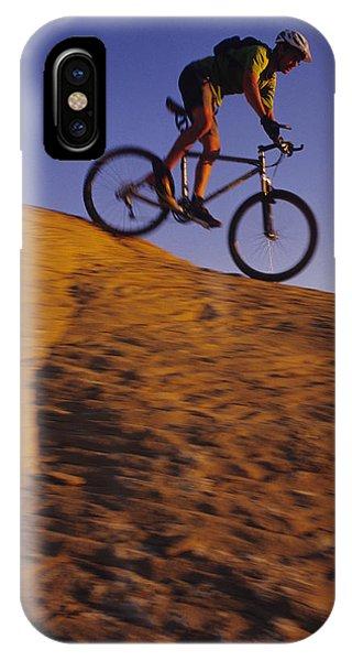 Caucasian Male Mountain Biking IPhone Case