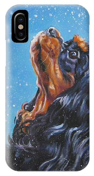 King Charles iPhone Case - Cavalier King Charles Spaniel Black And Tan In Snow by Lee Ann Shepard