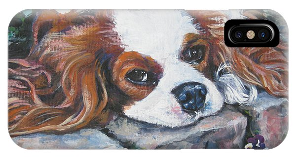 King Charles iPhone Case - Cavalier King Charles Spaniel In The Pansies  by Lee Ann Shepard