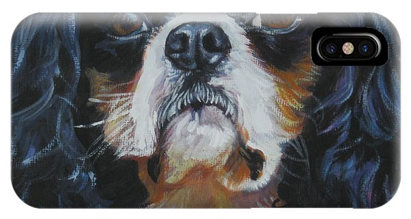 King Charles iPhone Case - Cavalier King Charles Spaniel Tricolor  Head Study by Lee Ann Shepard