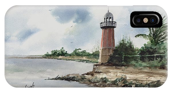 IPhone Case featuring the painting Cayman Lighthouse by Sam Sidders