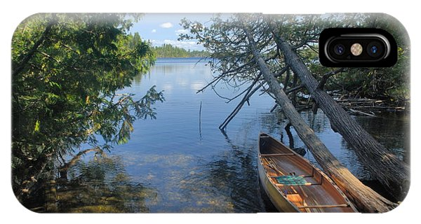 Cedar Strip Canoe And Cedars At Hanson Lake IPhone Case