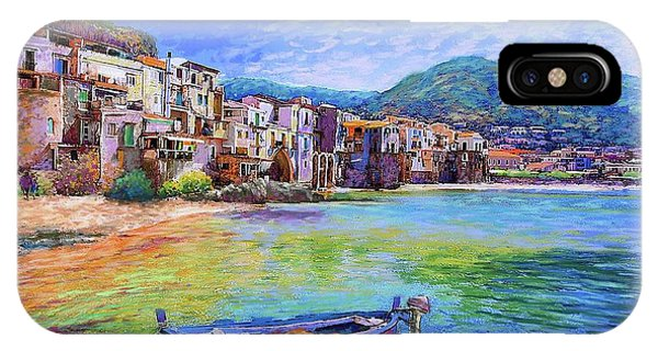 Cruise Ship iPhone Case - Cefalu Sicily Italy by Jane Small