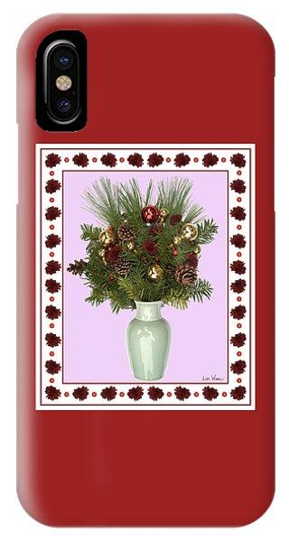 Celadon Vase With Christmas Bouquet IPhone Case