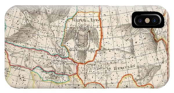 Celestial Map - Map Of The Constellations - Cygnus, Hercules, Lyra - Astronomical Chart IPhone Case