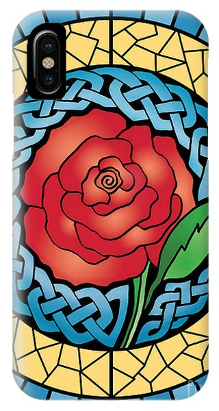 Celtic Rose Stained Glass IPhone Case