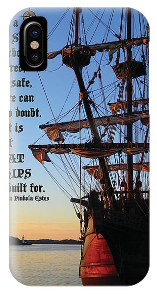Celtic Tall Ship - El Galeon In Halifax Harbour At Sunrise IPhone Case