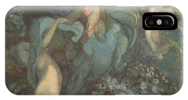 Centaur iPhone Case - Centaur Nymphs And Cupid by Franz von Bayros