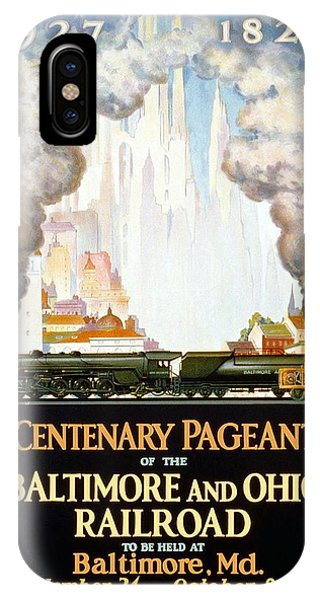 Advertising iPhone Case - Centenary Pageant Of The Baltimore - Steam Engine - Retro Travel Poster - Vintage Poster by Studio Grafiikka